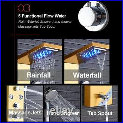 LED Shower Panel Column Tower Rain Waterfall With Body Jets Bath Shower Tap UK
