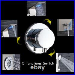 LED Shower Panel Column Tower Stainless Steel Shower Head Rainfall and Waterfall