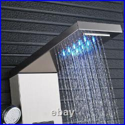 LED Shower Panel Column Tower Stainless Steel Temperature Display Massage Jet