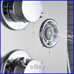 LED Shower Panel Column Tower Temperature Display Massage Jets Brushed Nickel