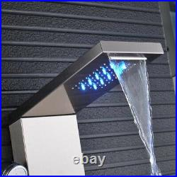 LED Shower Panel Tower Column Waterfall Massage Body Jet System Stainless Steel