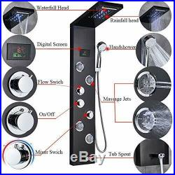 LED Shower Panel Tower Faucet Rainfall Waterfall Shower Faucet Fixtures Bathroom