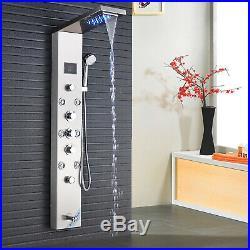 LED Shower Panel Tower Rain Massage Tub Spout Hand Shower Sprayer Mixer Tap Set