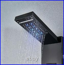 LED Shower Panel Tower Rain&Waterfall Massage Body System Tap Black Colors