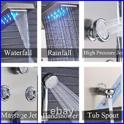 LED Shower Panel Tower Rain&Waterfall Massage Body System Tap Brushed Nickel
