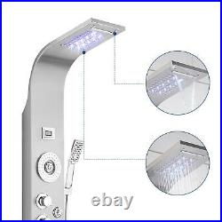 LED Shower Panel Tower Rain Waterfall Massage Body System Tub Stainless Steel