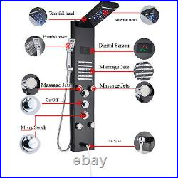 LED Shower Panel Tower Rain&Waterfall Massage Body System Tub Tap Black Colors