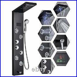LED Shower Panel Tower Rain Waterfall Massage System Body Jet Sprayer Black