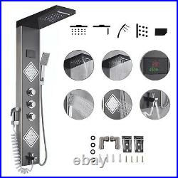LED Shower Panel Tower Rain&Waterfall Shower Head with Massage Body System jets