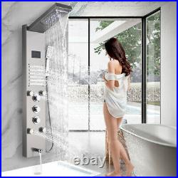 LED Shower Panel Tower Rain Waterfall Shower System Mixer Tap With Massage Jets UK
