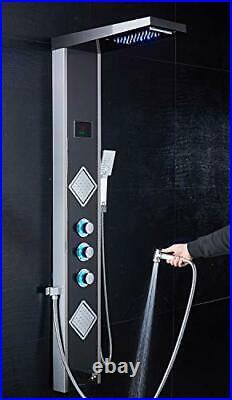 LED Shower Panel Tower, Rainfall Shower Head with Rain Massage Body Jets