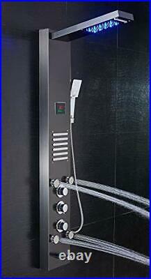 LED Shower Panel Tower, Rainfall Shower Head with Rain Massage Body Jets Black