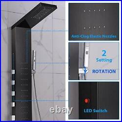LED Shower Panel Tower, Rainfall Shower Head with Rain Massage Brushed Black