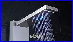 LED Shower Panel Tower, Rainfall Shower Head with Rain Massage Brushed Nickel