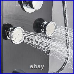LED Shower Panel Tower Rainfall Waterfall Shower Faucet Fixtures Massage Jets