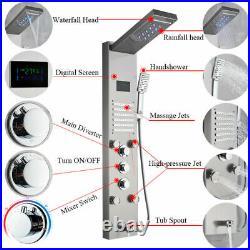 LED Shower Panel Tower System Brushed Nickel Shower Faucet Rain Massage Body Jet