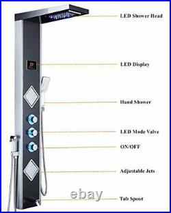 LED Shower Panel Tower System, Rainfall Waterfall Shower Faucet Fixtures Bathroo