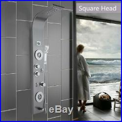 LED Shower Panel Tower System Rainfall Waterfall Shower Faucet Fixtures Bathroom