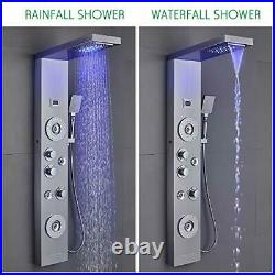 LED Shower Panel Tower System Rainfall Waterfall Shower Faucet Fixtures, Rain