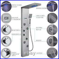 LED Shower Panel Tower System Stainless Steel Multi-Function Bathroom Shower