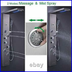 LED Shower Panel Tower System Stainless Steel Multi-Function Bathroom Shower Pa