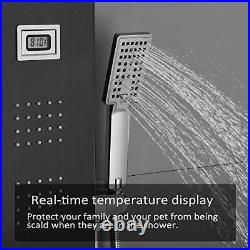 LED Shower Panel Tower System, Stainless Steel Rainfall Waterfall Shower Head wi