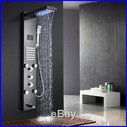 LED Shower Panel Wall Mounted Temp Display Handheld Shower 5 ways Tower Black