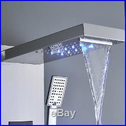 LED Shower Panel Waterfall Rain Shower Column Tower Jets Hand Tap Brushed Nickel