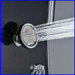 LED Shower Panel system Black Tower Massage Body Jets Rainfall&Waterfall mix Tap