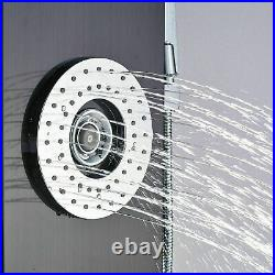 LED Stainless Steel Rain Shower Panel Tower Faucet Massage System Jets Fixture