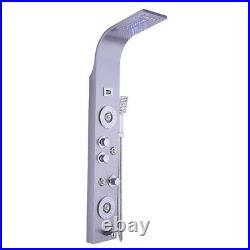 LED Stainless Steel Rain Waterfall Shower Panel Tower Rain Massage System Jets