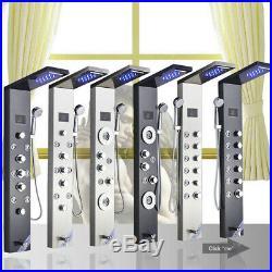LED Stainless Steel Rainfall &Waterfall Shower Panel Tower Massage Jets Column