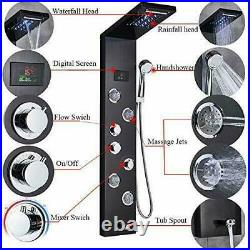 LED Stainless Steel Shower Panel Column Rain Massage Shower System Body Jets Set