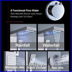 LED Stainless Steel Shower Panel Column Rain Massage System Body Jets Hand Spray