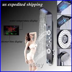 LED Stainless Steel Shower Panel Rain Waterfall Spa Body Jets Tower Shower Panel