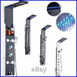 LED Stainless Steel Shower Panel Rainfall Column Spa Massage Jets Hand Spray Mix