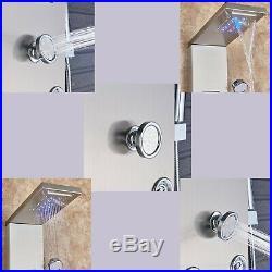 LED Stainless Steel Shower Panel Tower Massage Jets Rain Bathroom Column Nickel
