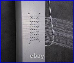 LED Stainless Steel Shower Panel Tower System, Rainfall Waterfall Shower Head