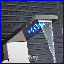 LED Stainless Steel Shower Panel Tower with Massage jets Shower Mixer Tap Nickel