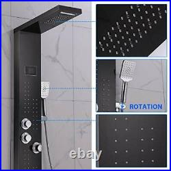 LED Thermostatic Shower Panel Tower System, Rainfall Waterfall Brushed Black