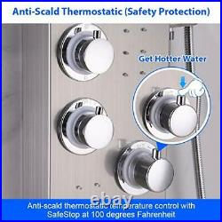 LED Thermostatic Shower Panel Tower System, Rainfall Waterfall Brushed Nickel