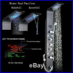 LED Wall Mount Faucet Shower Column Panel Massage Jets Tub Spout Hand Shower Tap