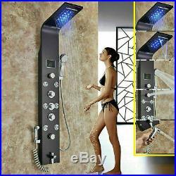 LED Wall Mount Shower Panel Column Rain Massage Jets Tub Spout Hand Shower Tap