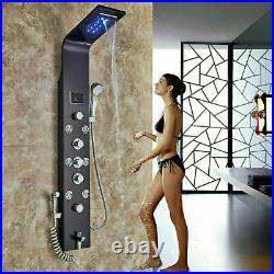 LED Wall Mounted Shower Panel Column Rain Massage Jets Hand Shower Tub Spout Tap