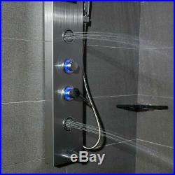LIVINGbasics Stainless Steel LED Light Rainfall Shower Panel Tower System