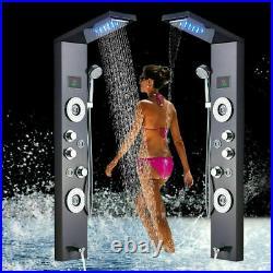 Led shower tower panel Waterfall Rain Head Black Shower Mixer Massage column Tap