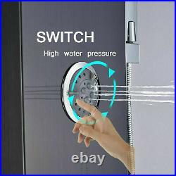 Luxury Black Bathroom Shower Faucet LED Shower Panel Column Bathtub Mixer Tap