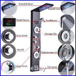 Luxury Black/Brushed Bathroom Shower Faucet LED Shower Panel Column