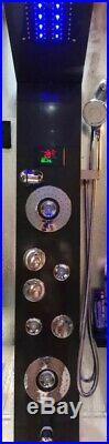 Luxury Black LED Bathroom Waterfall Shower Faucet Spa Massage Panel Column