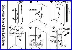 Luxury Gold Steel Shower Panel Column Massage Jets Hand Shower Mixer Faucet Tap